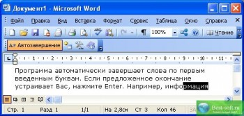 скриншот AutoComplete for MS Word