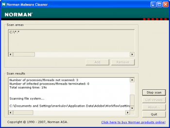 скриншот Norman Malware Cleaner