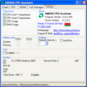 скриншот AMD64 CPU Assistant
