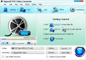 скриншот Bigasoft PSP Video Converter