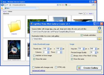 скриншот LightBox Video Web Gallery Creator