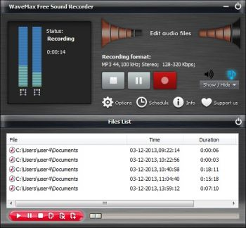 скриншот WaveMax Free Sound Recorder