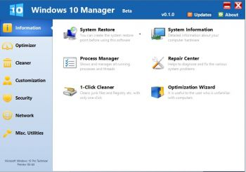скриншот Windows 10 Manager