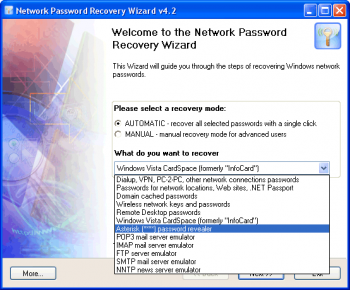 скриншот Network Password Recovery Wizard