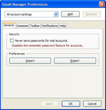 скриншот Gmail Manager