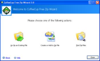 скриншот CoffeeCup Free Zip Wizard