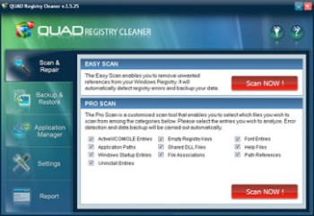 скриншот Quad Registry Cleaner