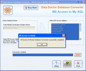 скриншот Access Database To MySQL Converter