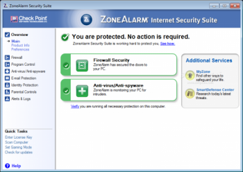 скриншот ZoneAlarm Security Suite