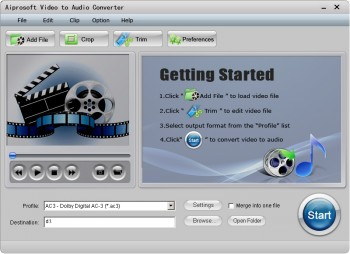 скриншот Aiprosoft Video to Audio Converter