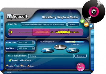 скриншот Bigasoft BlackBerry Ringtone Maker