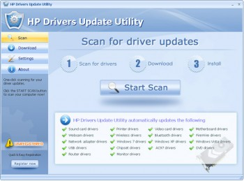 скриншот HP Drivers Update Utility