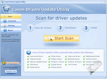 скриншот Canon Drivers Update Utility