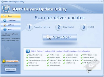скриншот SONY Drivers Update Utility