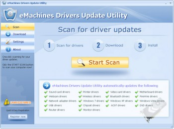 скриншот eMachines Drivers Update Utility