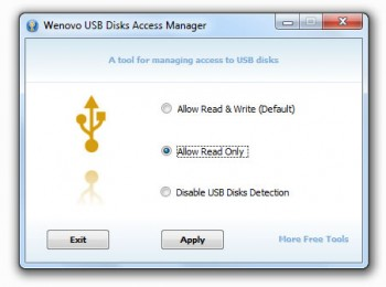 скриншот Wenovo USB Disks Access Manager