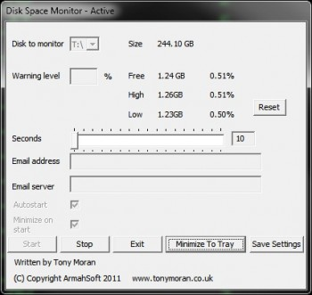 скриншот Disk Space Monitor