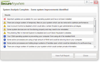 скриншот Webroot System Analyzer